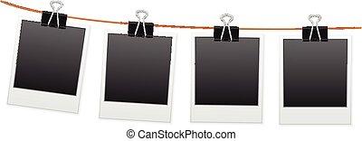 Photos hanging on wash line. Vector illustration.