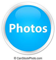 Photos premium cyan blue round button