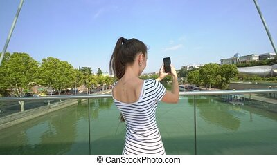 photos, prendre, dame, jeune, riverbridge