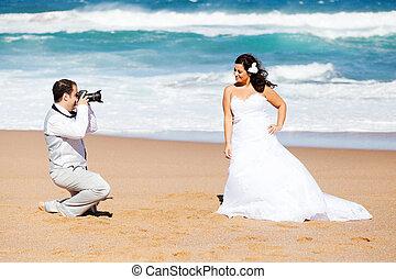 photos, prendre, palefrenier, plage, mariée