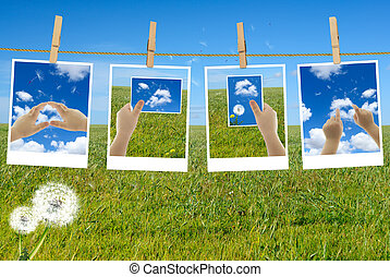 Photos with child's hands in picture frames