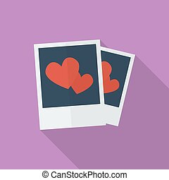 Photos with hearts. Flat style icon