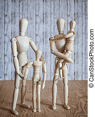 happy family - Photos wooden dolls, happy family with...