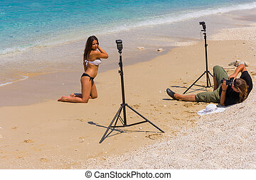 photoshoot, 浜, ∥で∥, 美しい, ビキニ, モデル