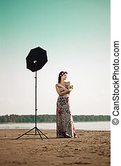 Photoshoot with woman by the ocean