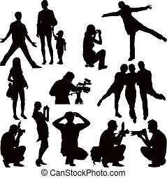 Photoshooting and posing - Fifteen vector black silhouettes ...