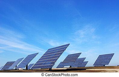 photovoltaïque, central, panels.