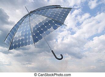 photovoltaïque, concept, parapluie, crosse, solaire, ouvert