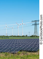 Photovoltaic and wind power with overhead wires