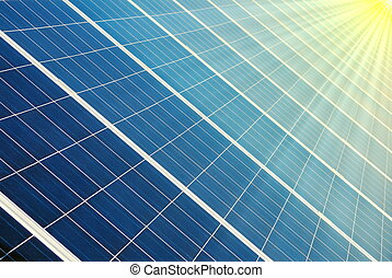 Photovoltaic cells and sun - Photovoltaic cells of a solar...