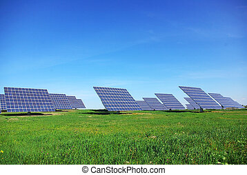 photovoltaic, central, panels.