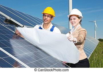 photovoltaic, construção, plano, solar, painéis, engenheiros