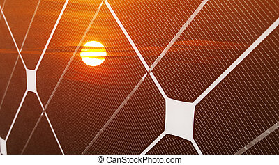 Photovoltaic energy - Renewable energy concept with...
