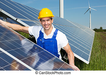 photovoltaic, ingenjör, eller, installerare, installera,...