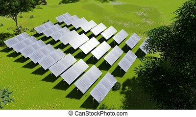 Photovoltaic isolated on green grass. Solar power. Future ...