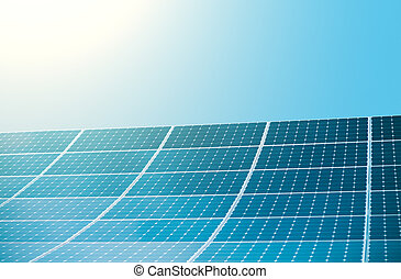 Photovoltaic modules of huge solar panels with sun and clear sky on background