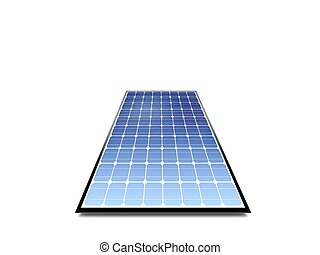 Photovoltaic panel in low angle isolated on white background...