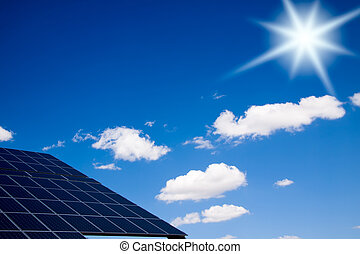 Bright sun over a photovoltaic pannels.