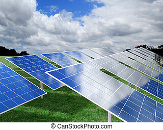 Photovoltaic Panels over green grass