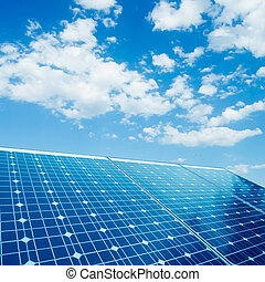 Photovoltaic - photovoltaic cells and sunlight background