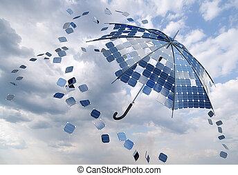 photovoltaic, pojęcie, parasol, wtykać, słoneczny, otwarty