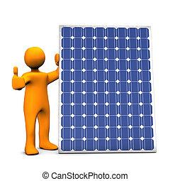 Photovoltaic Power Ok - Orange cartoon with photovoltaic...
