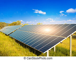 photovoltaic solar electricity park sun beams renewable energy