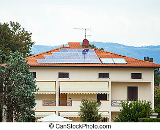 Photovoltaic solar panel on a roof.