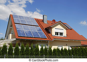 Photovoltaic - Solar panels on a house roof
