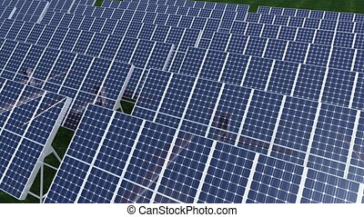 Photovoltaic standing on grassland - Computer animation...