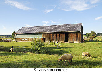 Photovoltaic - Old barn with photovoltaic on the roof