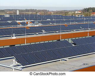 photovoltaic, system, på, tak, betiebs