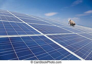 photovoltaic, trabalhador, cima, instalar, solar, fim, profissional, painéis, painel