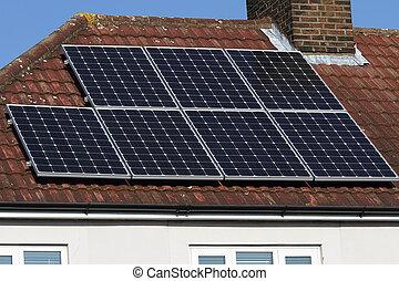 photovoltaisch, sonnenkollektoren, reihe, dach, tafel
