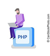 PHP Button, Programming or Coding, Man Programmer - PHP...