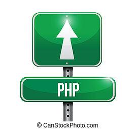 php, camino, ilustración, señal