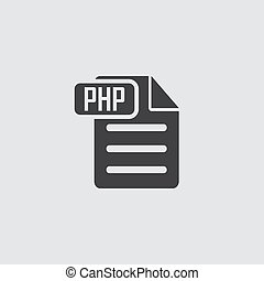 Php icon in black on a gray background. Vector illustration.