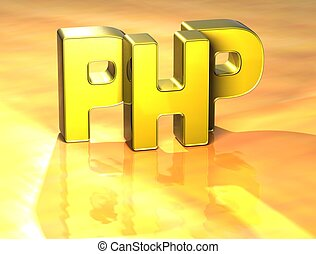 php, słowo, tło, żółty, 3d