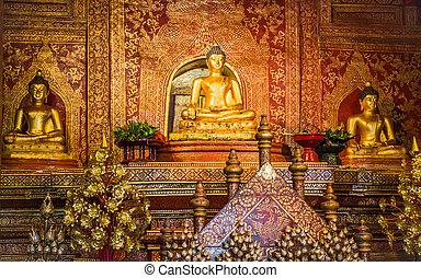 """Phra Sihing Buddha"" ancient gold statue"