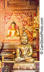 """Phra Sihing Buddha"" and buddha statue in Phra Singha temple Chi"