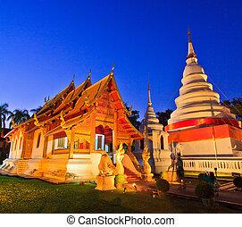 Phra Singh temple twilight time Viharn chiangmai thailand