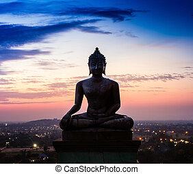 phrabuddhachay, 寺院, saraburi, thailand., 像, 仏, 日没