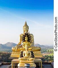 phrabuddhachay, saraburi, thailand., 像, 仏, 寺院