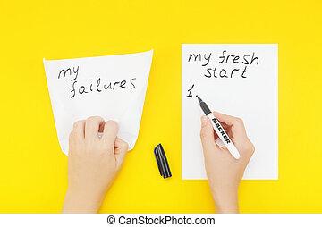 phrase:, écrit, papier, feuille, vide, début frais, main, mon, paper:, échecs, rides, morceau