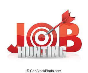 Phrase Job Hunting isolated on white. target and dart. illustration design