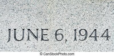 """Phrase """"June 6 1944"""" Carved in Gray Granite D-Day - D-DAY,..."""