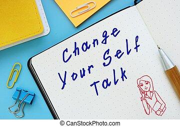 phrase., parler, manuscrit, conceptuel, changement, sur, photo, ton, soi