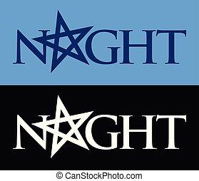 phrase, stimmung, symbol, nacht, vektor, dark., logo,...