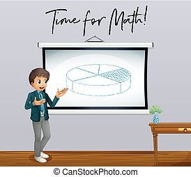 Phrase time for math with math teacher in classroom