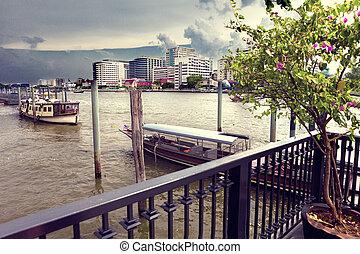 phraya, cityscape., chao, bangkok, flod, scene
